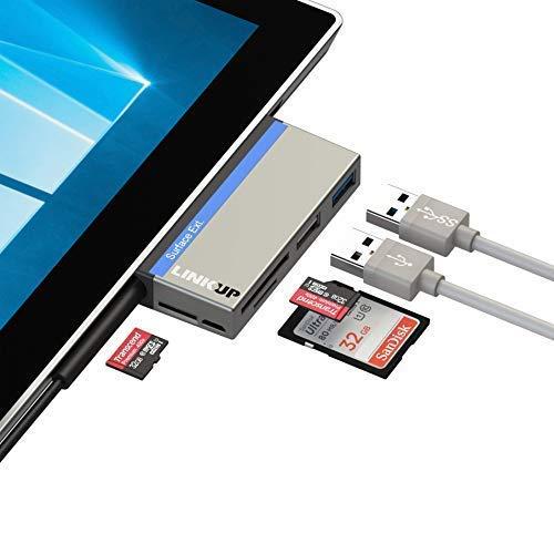 LINKUP Surface Pro (3/4/5/6) Compatible SD Card Micro Memory Reader Adapter Hub | 6-in-1 Docking Station | 1xUSB-A 2.0, 1xUSB-A 3.0, SD/MicroSD | Mini Dock Slot Open for Original Power Charging Plug (Micro Sd Card Reader Sata)