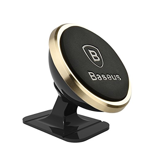 Magnetic Cell Phone Holder, Baseus 360 Degree Rotatable Car Mount Holder Phone Vehicle Mount for iPhone 7 Plus SE 6s Plus, Samsung Galaxy S7 S6 Edge+, LG etc smart Phone Universal(GOLD) …