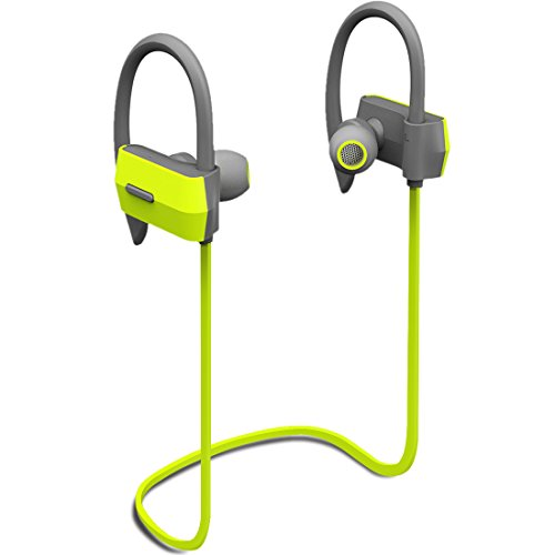 Heiyo Bluetooth Headphones,In-Ear Wireless Earbuds Secure Fit Earhook Headset 7-hour Working Time with Mic IPX4 Sweatproof Sports Headphone Workout for Running Gym Exercise Earphones--Green