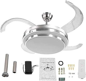 DDA Ventilador de Techo con, Ventilador de Techo de luz LED de 42 Pulgadas (con Tres Colores lámparas de Repuesto y Mando a Distancia) de Techo de níquel aspas del Ventilador satén 4,Silver