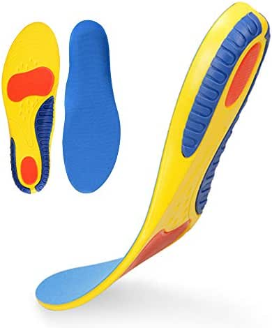 Insoles for Plantar Fasciitis - Foot Arch Support Orthotics Insoles for Men & Women, Shoe Inserts for Relief Flat Feet, Orthopedic Functional Foam Insoles (Yellow, Men8-13)