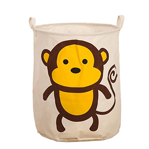 Dailydollor Animal Patterns Foldable Round Laundry Basket Hamper - Animal Hamper Wicker
