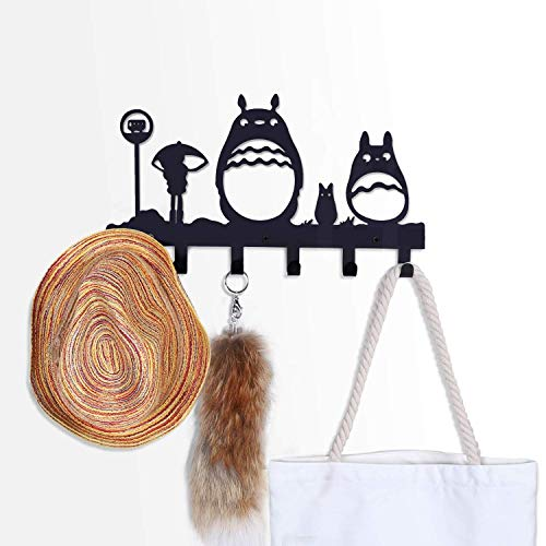 CoolPlus Coat Hooks Wall Mounted, Childrens Hangers, Metal Towel Racks for Bathroom, Dog Leash and Key Holder, Entryway Clothes and Hat Organizer, Totoro Pattern Sweet Black