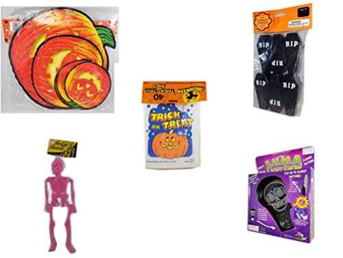 Halloween Fun Gift Bundle [5 piece] - Classic Pumpkin Cutouts Set of 9 - Tombstone Containers Party Favors 6 Count - Halloween Trick or Treat Bags 40/ct - Hanging Skeleton Pink - Halloween Luma Lig