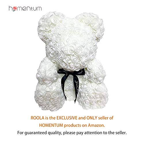 (Homentum Rose Bear Teddy Forever Artificial Flowers are The Best Gifts for Valentine's Day,Anniversaries, Birthdays, Weddings(White, Small) )