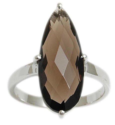 Banithani 925 Pure Silver Amazing Indian Fashion Smoky Topaz Stone Ring Women Jewelry