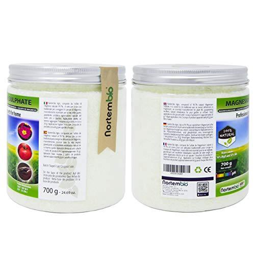 NortemBio Agro Sulfato de Magnesio Natural 1, 2 Kg. Uso Universal. Favorece el Crecimiento de Cultivos, Jardines, Plantas de Interior y Exterior.