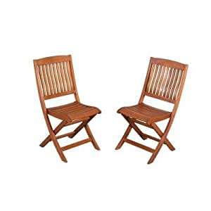 Adelaide Eucalyptus Patio Dining Side Chairs 2 Pack Patio Lawn Garden
