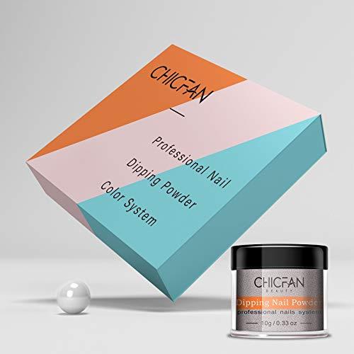 CHICFAN Nail Dip Powder Set - 10 Colors Glitter Dipping Powder Nail Gift Box for DIY Manicure - Nail Art Powder System