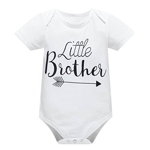Yatong Baby Boys Girls Short Sleeve Bodysuit Onesies Baby Romper (12-18 Months, Brother)