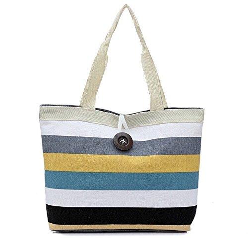 c9d465f3d1ce Sale Clearance Sunday77 Women s Fashion Canvas Handbag Shoulder Bag  LadiesColored Stripes Shopping Bag Casual Classic Vintage PU Leather Tote  Purse Bag for ...