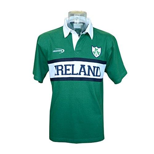 Short-Sleeved Green Ireland Rugby Shirt With White Ireland Panel