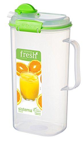 Collection Spout - Sistema 951420 Fresh Collection Square Juice Jug, 67.63 oz/8.45 Cup, Clear/Lime Green