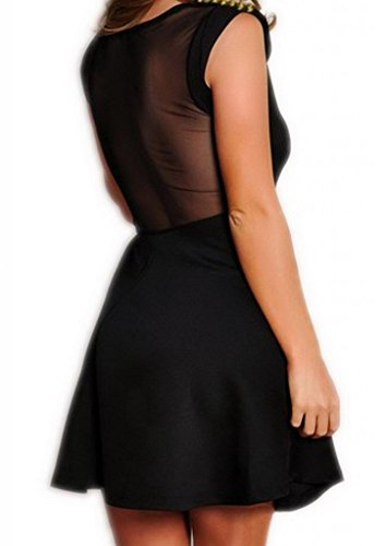 Bigood Sexy Robe Clubwear Femme Robes de Soirée Cocktail Noir