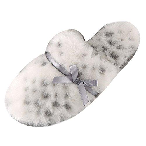 Léopard Chaussons Décontractés Pantoufles épais Coton Pantoufles Blanc Chaussons Yonglan Femmes intérieur Chaussons qxwfnR85a