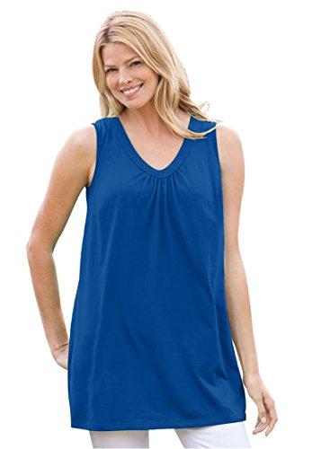 Women's Plus Size Top, Perfect Tunic, Sleeveless Dark Sapphire,6X