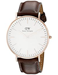 Daniel Wellington Men's Brown/White Leather Watch