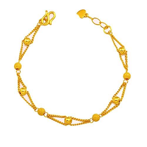 daindyzzq Women Girls Double Row Beaded Chain Ankle Bracelet Gold Plated Wristband Bangle -