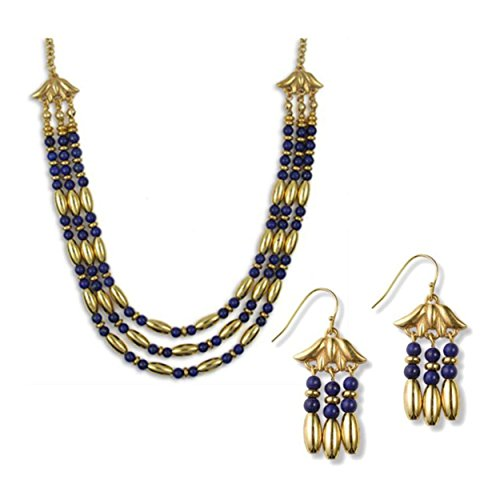 - pricegems Egyptian Cleopatra Gold Finish Lotus Triple Strand Lapis Necklace and Earrings Jewelry Set