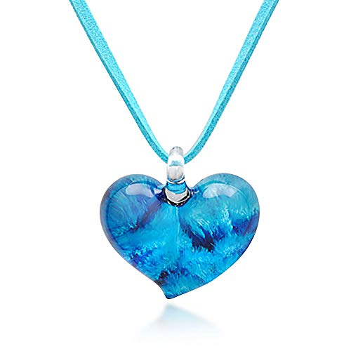 (Chuvora Hand Blown Venetian Murano Glass Blue Heart Shaped Pendant Necklace, 18-20 inches )