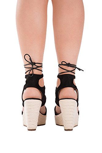 Lusty Chic - Sandalias de vestir de Material Sintético para mujer Black Lace Up