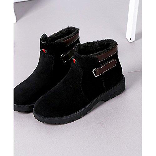 HSXZ Women's Heel Black Army for Boots Comfort Winter Toe Round Green Casual Black Flat PU Shoes ZHZNVX d5Oqg84d