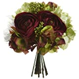 "10.5"" Hydrangea, Ranunculus, Peony & Skimmia Silk Flower Bouquet -Eggplant/Green (Pack of 6)"