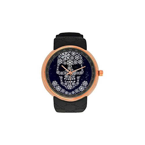 [Men's Sugar Skull Dia De Los Muertos Rose Gold Stainless Steel Resin Strap Waterproof Band Wrist] (Catrina Sugar Skull Costume)