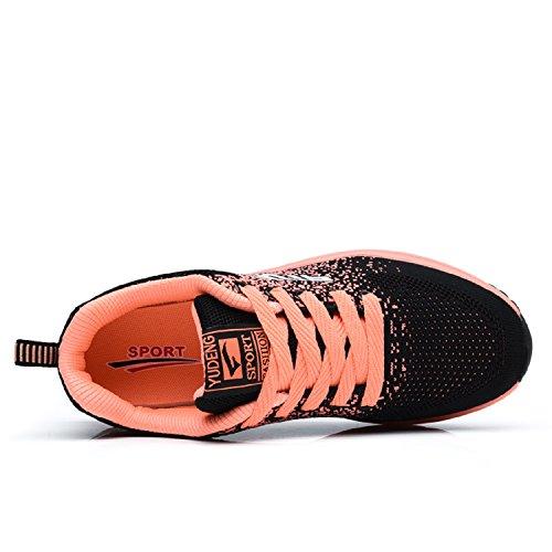 Sportschuhe Laufschuhe Turnschuhe Dämpfung Damen LILY999 Rutschfeste Leichte Freizeitschuhe mit Ultra Orange Herren Sneakers Luftpolster Schwarz XAxTq