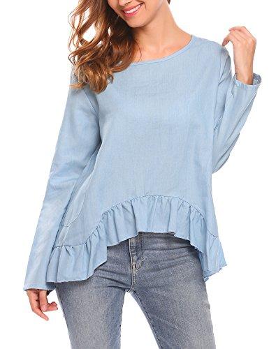 SummerRio Casual Women Loose Fit Long Sleeve Denim Ruffle Hem Top Blouse T Shirt, Blue, (Ruffle Hem Denim)