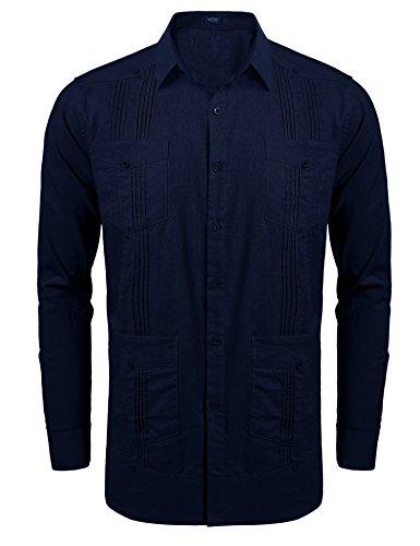 COOFANDY Men's Long-Sleeve Guayabera Cuban Shirt Casual Button Down Cotton Linen Shirt, Dark Blue, ()
