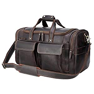 "Polare 22.8"" Duffel Thick Full Grain Cowhide Leather Duffle Bag 6"