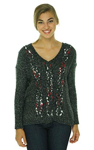 Kensie Womens Knit Marled V-Neck Sweater Black - V-neck Sweater Marled