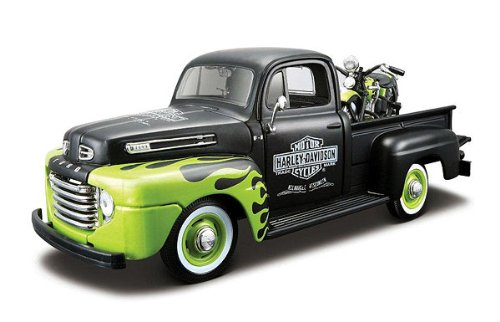 1948 Ford F-1 Pickup Truck Harley Davidson With 1948 FL Panhead Motorcycle Black/Green 1/24 by Maisto 32171