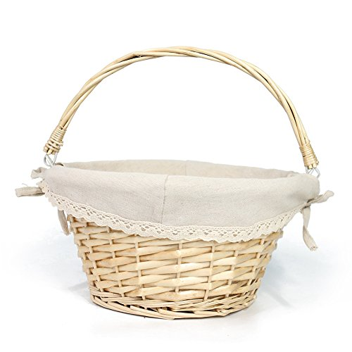 OYPEIP(TM)Easter Basket Gift Basket Traditional Fashion Basket Kids Gift Basket Woven Willow Round Wicker Storage Basket With One Drop Down Handle Fabric Cotton Linen For Office, Bedroom, Closet, Toys