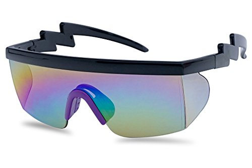 Rainbow Mirror Lens - Large Wrap Around Rainbow Mirrored Semi Rimless Flat Top Shield Goggles Sunglasses (Black Purple Frame | Rainbow Mirror)
