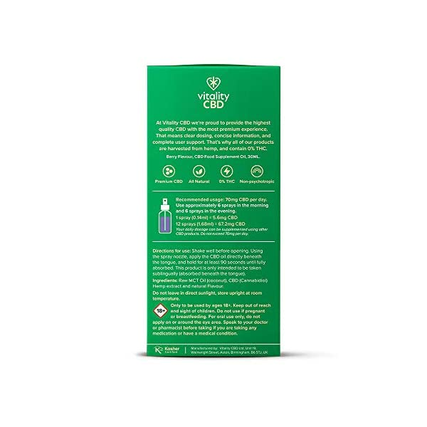 Vitality CBD Oral Spray with MCT Oil, 30ml Berry ,1200mg of CBD