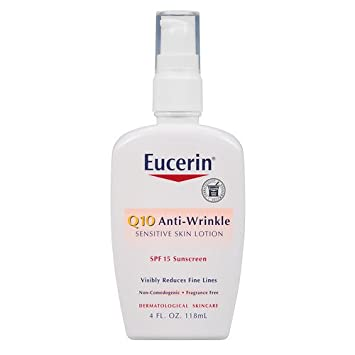 Eucerin Q10 Anti-Wrinkle Sensitive Skin Lotion SPF 15 4 oz (118 ml) package of 2 Nia 24 Intensive Recovery Complex, 1.7 Oz