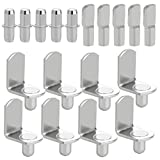 120pcs Shelf Bracket Pegs, Wobe Stainless Steel Shelf Pins Support Nickel Plated Shelf Peg Pin Supports for Cabinet Furniture Closet Shelf Bracket Wardrobe Office Accessories Display Stand