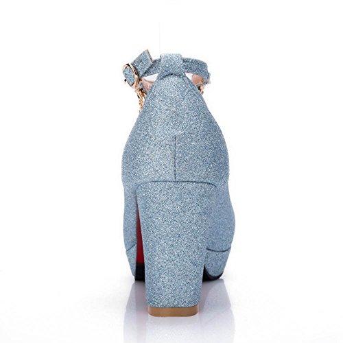 Pumps Shoes TAOFFEN Blue Women Platform Shoes Heel Fashion Block OPn6wWZqa