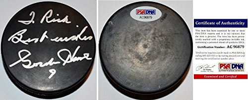 Gordie Howe Autographed Signed Black Hockey Puck personalized TO RICK PSA/DNA Authentic