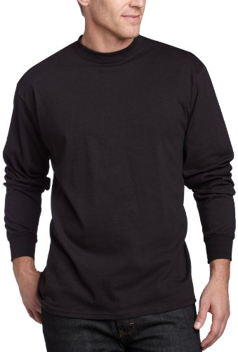 MJ Soffe Men's Long-Sleeve Cotton T-Shirt, Black, - Long Jersey Mens Sleeve T-shirt