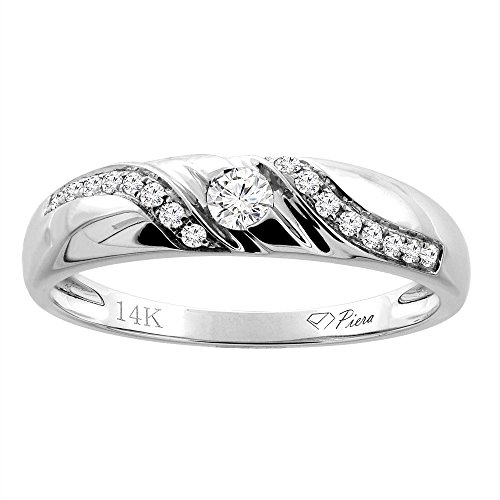 14K White Gold Ladies' Diamond Wedding Band 4 mm 0.13 cttw, size 10 by Silver City Jewelry