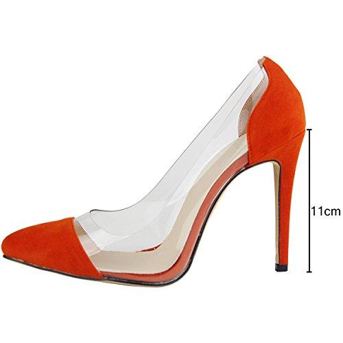 Pointu Soirée 11 Femme Bout Suédé Talon Sexy Cm Talon Escarpins Mariage Aiguille wealsex Orange Mode 0SaqA8x