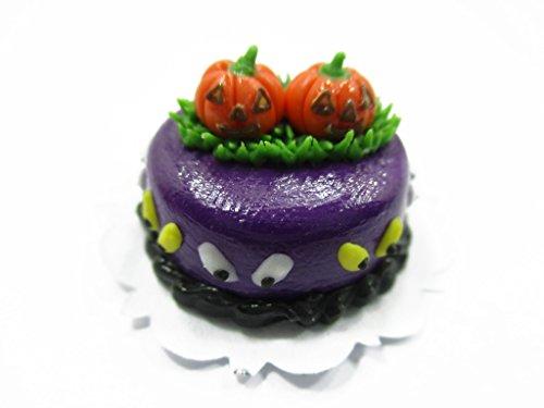 Dollhouse Miniatures Halloween Cake 2 cm Pumpkin Seasonal Handmade 13964 -