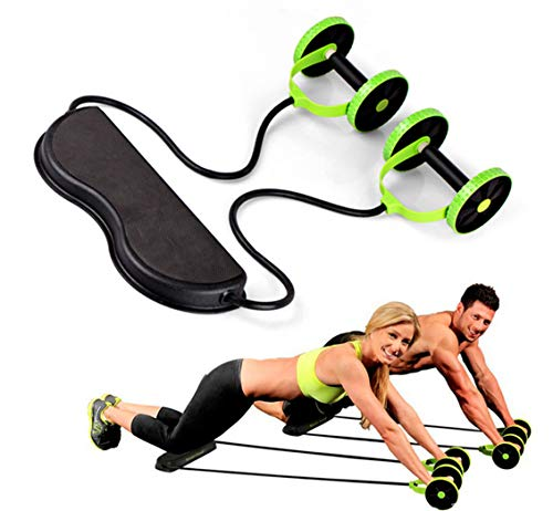 FMLY Core Strength Training Abdominal Fitness Double AB Wheel Roller with Resistance Band Slimming Trainer at Home Gym