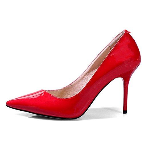 Nine Seven Cuero Moda Puntiagudos Zapatos de Tacón Aguja de Vestir para Mujer Rojo