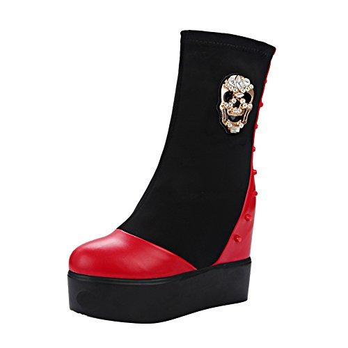 Heel Rivet Punk Womens Boots Skull Short Red Carolbar Wedge Platform Rhinestones x0X5zqd1