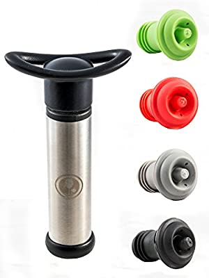 Stainless Steel Vacuum Wine Saver Pump - Wine Preserver with 4 x Vacuum Colored Bottle Stoppers