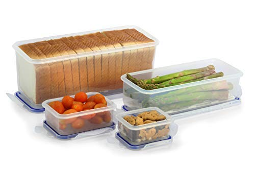 Popit! Sandwich Bread Box (12.7 cups) Bred Keeper, Vegetables (4.7 cups), 2 Snack Containers .7 & 1.3 cups, BPA Free, FDA Approved, 100% Leak Proof, Microwave, Freezer, Dishwasher Safe, by Popit! (Bread Storage Freezer)